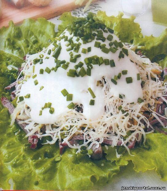 Салат мясо грибы лук